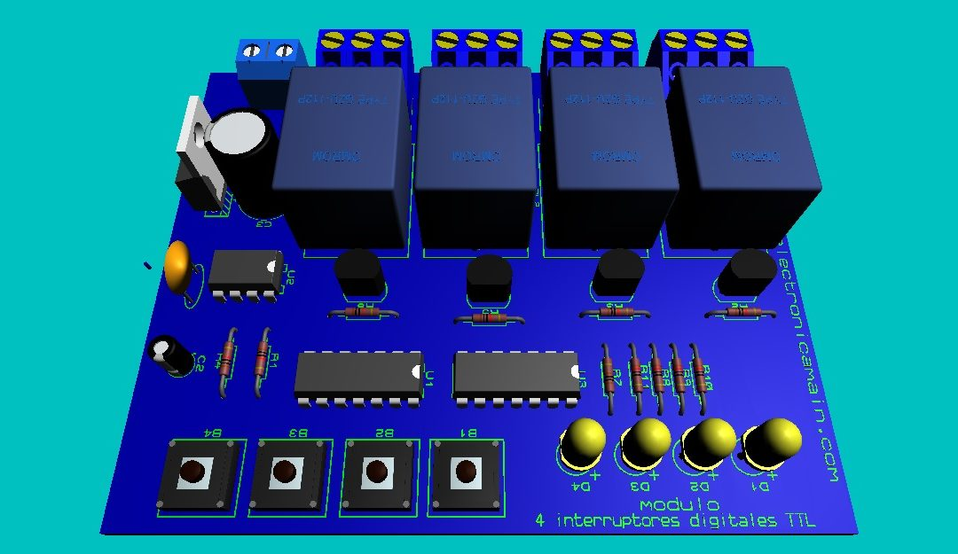 Módulo 4 interruptores con flip flop