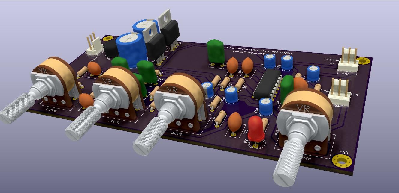 preamplificador de audio estéreo con tonos